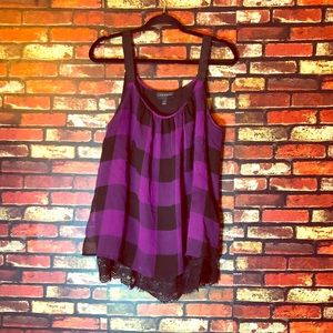 3/$15🌼 Size 18 Lane Bryant Purple Plaid Tank Top